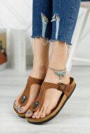 meyra'nın ayakkabıları Kadın Taba Mat Cilt Klasik Parmak Arası Terlik