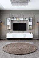 Modatte Kristal Beyaz-siyah Tv Ünitesi