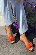 İnan Ayakkabı Kadın Turuncu Örgülü Bant Detaylı Terlik