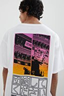 Pull & Bear Erkek Beyaz Stwd Baskılı Oversize T-shirt