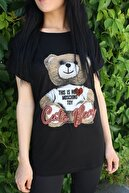 Sizce Moda Kadın Siyah Ayıcık Baskılı Salaş T-shirt