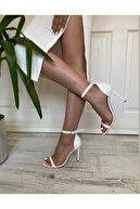 LORİA Kadın  Beyaz Tek Bant Ince Topuk  Ayakkabı