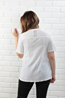 BAHAR STİL MODA Pamuklu Dantelli Kısa Kollu Beyaz Bluz