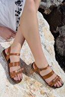 Rome Slippers Kadın Taba Hakiki Deri Sandalet Rt-7013