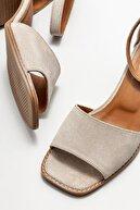 Elle Bej Deri Kadın Topuklu Sandalet
