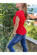SHIEBA Kadın Kırmızı V Yaka Yarasa Kol Basic T-shirt