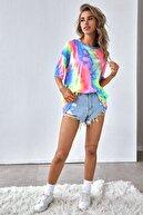 Millionaire Kadın Gökkuşağı Batik Desenli Oversize T-shirt