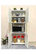 IRMAK MOBİLYA 4 Kapaklı Orta Bölmeli Çok Amaçlı Beyaz Mikrodalga Fırın Dolabı, Mini Fırın Mutfak Dolabı
