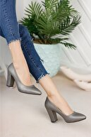 Nirvana ayakkabı Kadın Platin Cilt Yüksek Kalın Topuklu Ayakkabı