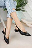 Nirvana ayakkabı Kadın Siyah Cilt Arkası Açık Ayakkabı