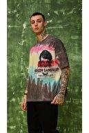 Rocqerx Çok Renkli Unisex Oversize Pamuklu Baskılı Tshirt Magical Utopia