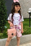 Riccotarz Kız Çocuk Love Happy Çiçekli Şortlu Takım