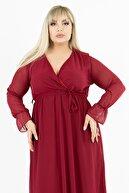 1fazlası Kadın Büyük Beden Bordo Kruvaze Yaka Astarlı Şifon Elbise