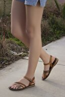 Rome Slippers Kadın Taba Zincirli Deri Sandalet Rt-7007