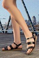 Rome Slippers Kadın Siyah Hakiki Deri Sandalet Rt-7013