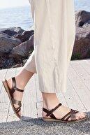 Rome Slippers Kadın Kahve Zincirli Hakiki Deri Sandalet
