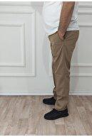 nacar çarşı Erkek Camel Klasik Rahat Kalıp Keten Pantolon