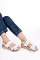 Marjin Kadın Beyaz Hakiki Deri Sandalet AtoniSandalet