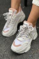 İnan Ayakkabı Kadın Beyaz&Pudra Ayakkabı&Sneaker INASPORT101