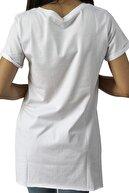 EtkiModa Kadın Beyaz V Yaka Tunik Tshirt
