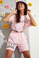 Defacto Kadın Pembe Slogan Baskılı Beli Lastikli Crop Tişört