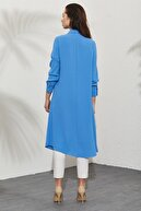 Nihan Kadın Mavi Gömlek Yaka Kuş Gözü Ve Aksesuar Detaylı Tunik