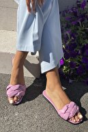 İnan Ayakkabı Kadın Lila Örgülü Bant Detaylı Terlik