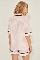 C City Kadın Dokuma Kısa Kol Gömlek Şort Takım 9062 Pembe