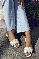 İnan Ayakkabı Kadın Beyaz Örgülü Bant Detaylı Terlik