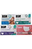 BSM Beyaz 3 Katlı Yassı Lastikli Meltblown Cerrahi Maske Toplam 50 Adet