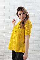 BAHAR STİL MODA Kadın Sarı Pamuklu Dantelli Kısa Kollu Bluz