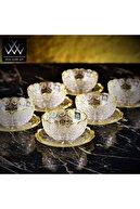 Wow Home Altın Yaldızlı 6lı Tabaklı Kase Kristal Kesme