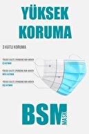 BSM Siyah 3 Katlı Yassı Lastikli Cerrahi Maske Toplam 50 Adet