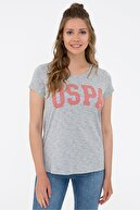 US Polo Assn Grı Kadın T-Shirt