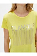 Koton Kadın Sarı Baskılı Bisiklet Yaka Sloganlı T-Shirt