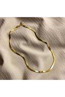JADENNE OFFİCİAL Italyan Yassı Ezme Zincir Vintage Gold Kısa Kombin Kolyesi Altın Kaplama Garanti Belgeli
