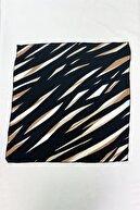 Takıştır Kadın Siyah Ve Kahverengi Çizgili Desenli Fular