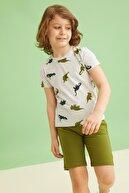 Defacto Erkek Çocuk Dinozor Desenli Kısa Kollu Tişört ve Şort Takımı U5311A621SM
