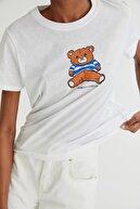 Pull & Bear Oyuncak Ayıcık Görselli Beyaz T-shirt