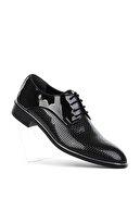 Meers Erkek Siyah Rugan Damatlık Klasik Ayakkabı