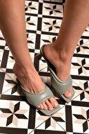 MaiaMarca Kadın Mint Deri Topuklu Terlik