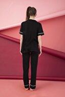 ELİTOL Kadın Siyah Düğmeli Pijama Takım