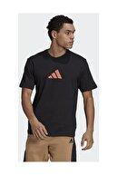 adidas Camo Loose Tee Erkek Antrenman Tişörtü Gn6843 Siyah