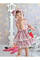 aden kids Kız Çoçuk Kırmızı Çilek Desenli Çantalı Elbise