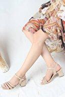 Modabuymus Ten Rengi Asimetrik Bantlı Topuklu Sandalet - Melodi