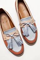 Elle Kadın Mavi Deri Loafer Ayakkabı