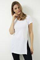 Vis a Vis Kadın Beyaz V Yaka Yarasa Kol Basic T-shirt