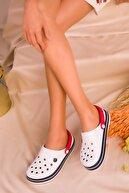 Soho Exclusive Beyaz-Lacivert-Kirmizi Kadın Terlik 16170