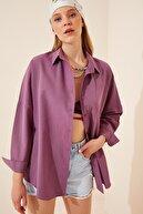 Happiness İst. Kadın Koyu Lila Oversize Uzun Basic Gömlek DD00842