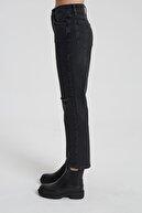 CROSS JEANS Elıza Cropped Siyah Dizi Kesikli Straight Cropped Fit Jean Pantolon C 4518-010